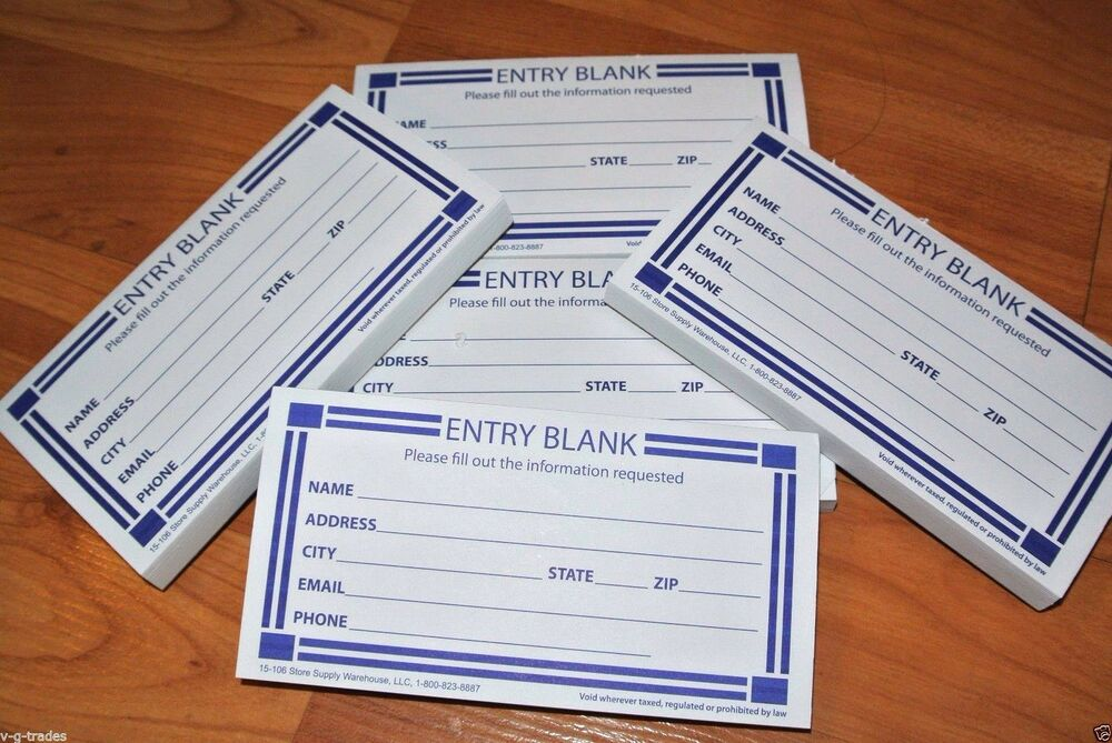 Entry blank paper forms pad drawing prize raffle entry forms ebay