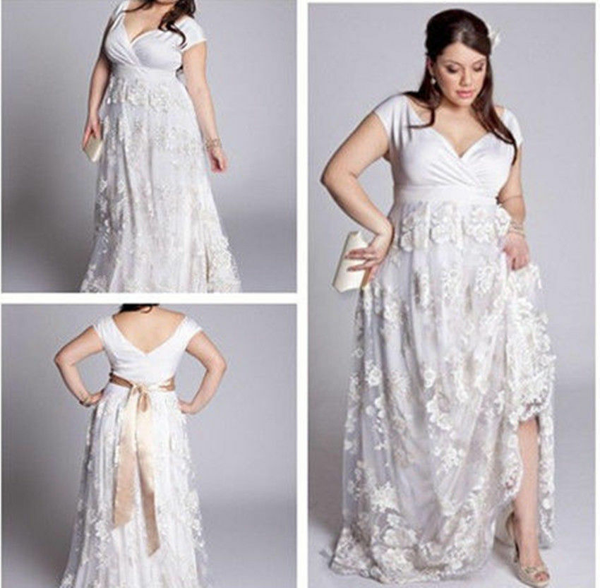 2015 New Womens Lace Plus Size White Ivory V Neck Wedding Dresses Bridal Gown