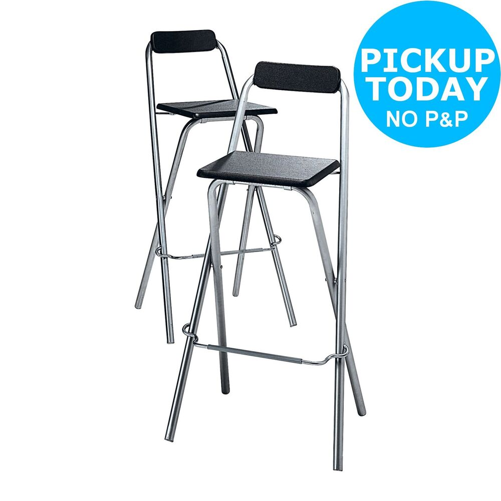 Simple Value Theo Pair Of Folding Bar Stools Black From