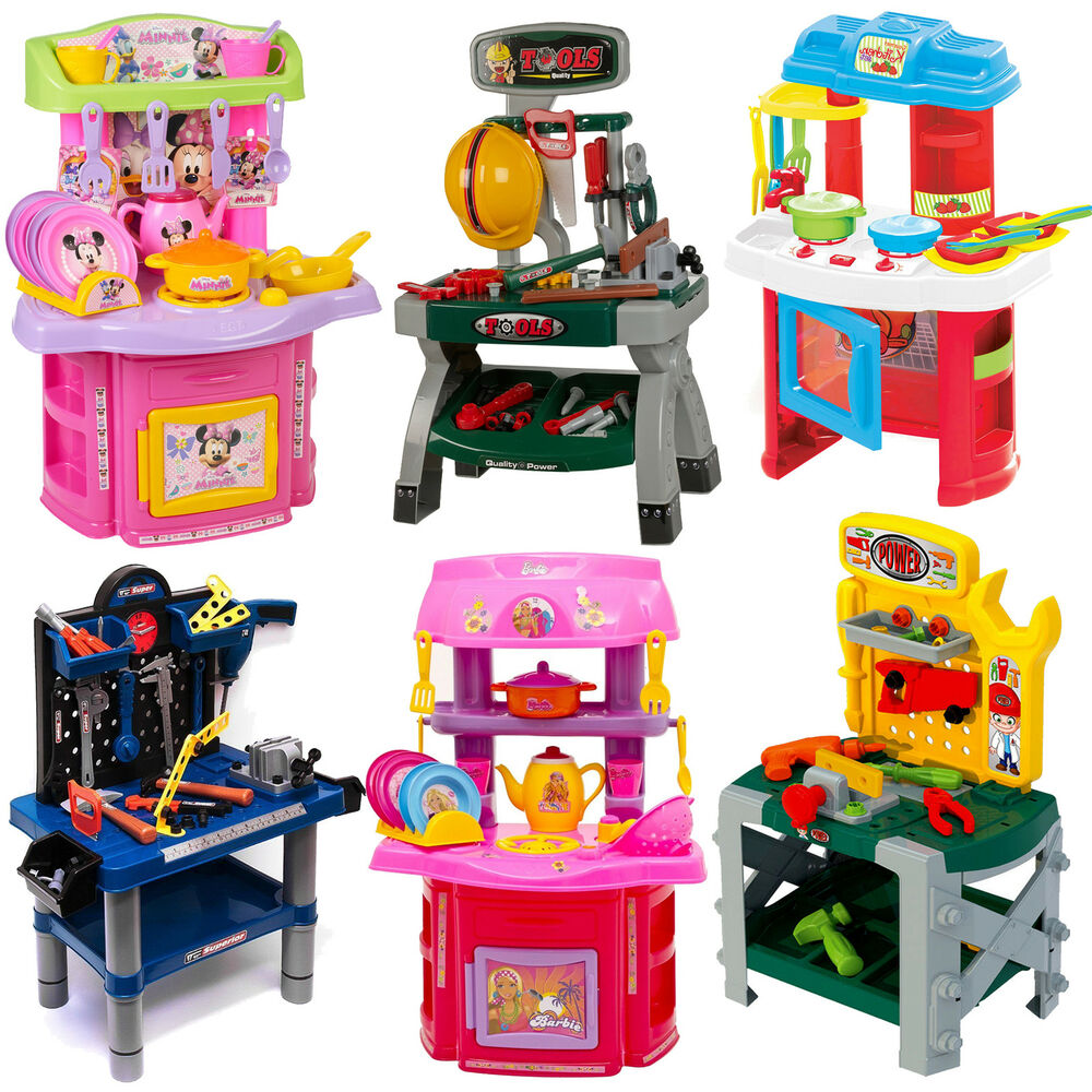 Play Toys Com : Children s kids power tools work bench kitchen cooking