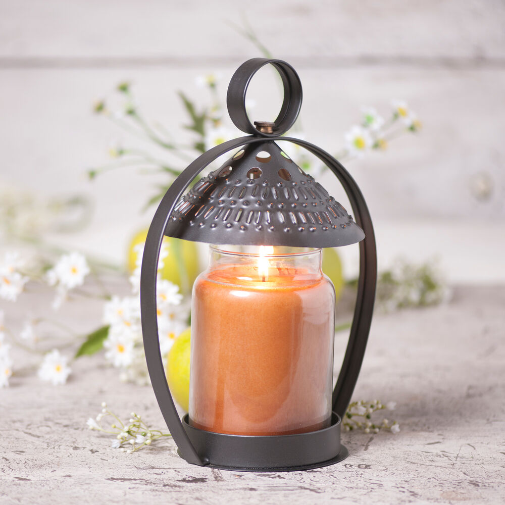 Canopy jar candle holder punched tin shade in smokey black - Punched metal candle holder ...