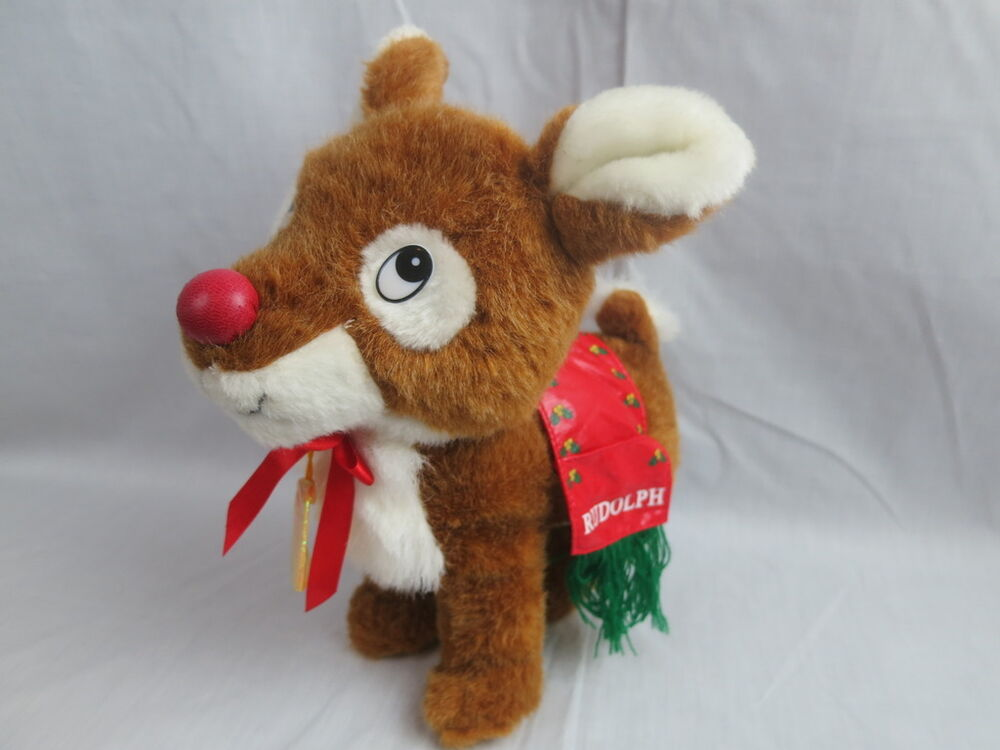 Christmas Plush Toys : Rudolph red nosed santa reindeer sugar loaf plush toy