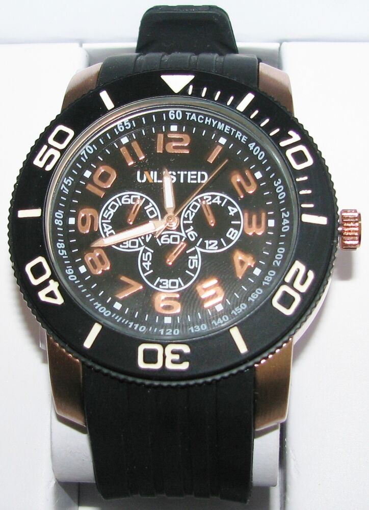 New Unlisted Kenneth Cole Black Rubber Band Rose Gold