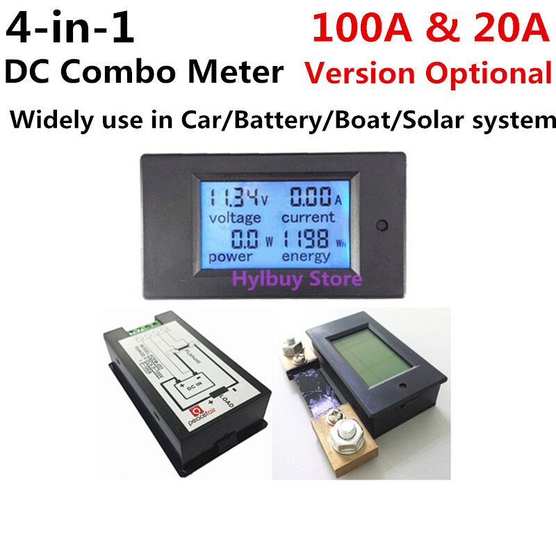 Car Battery Voltage Meter : Dc panel meter voltage current power energy combo monitor