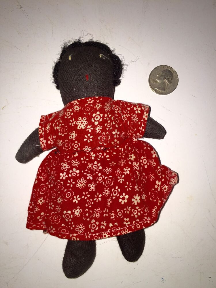 How To Contact Seller On Ebay >> Antique Black Baby Cloth Doll Red Calico Dress Authentic Black Americana | eBay