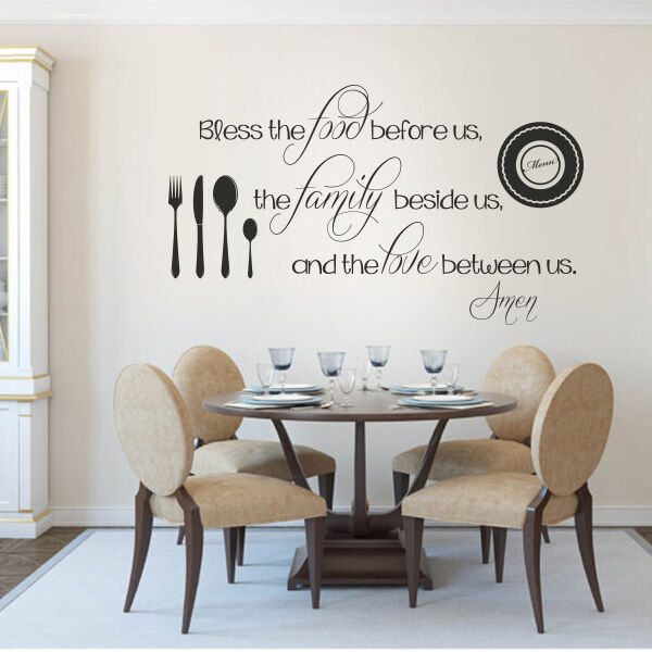 Kitchen wall decal thanksgiving bless the food family love for Kitchen dining room wall decor