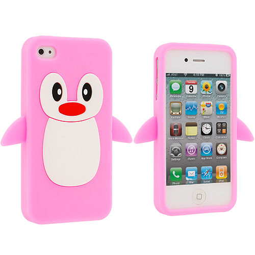 pink iphone 4 case pink penguin silicone rubber skin cover for 6665