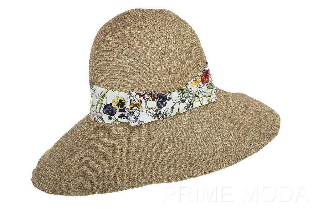 new gucci floral trim logo wide brim summer straw beach fedora bucket hat l ebay. Black Bedroom Furniture Sets. Home Design Ideas