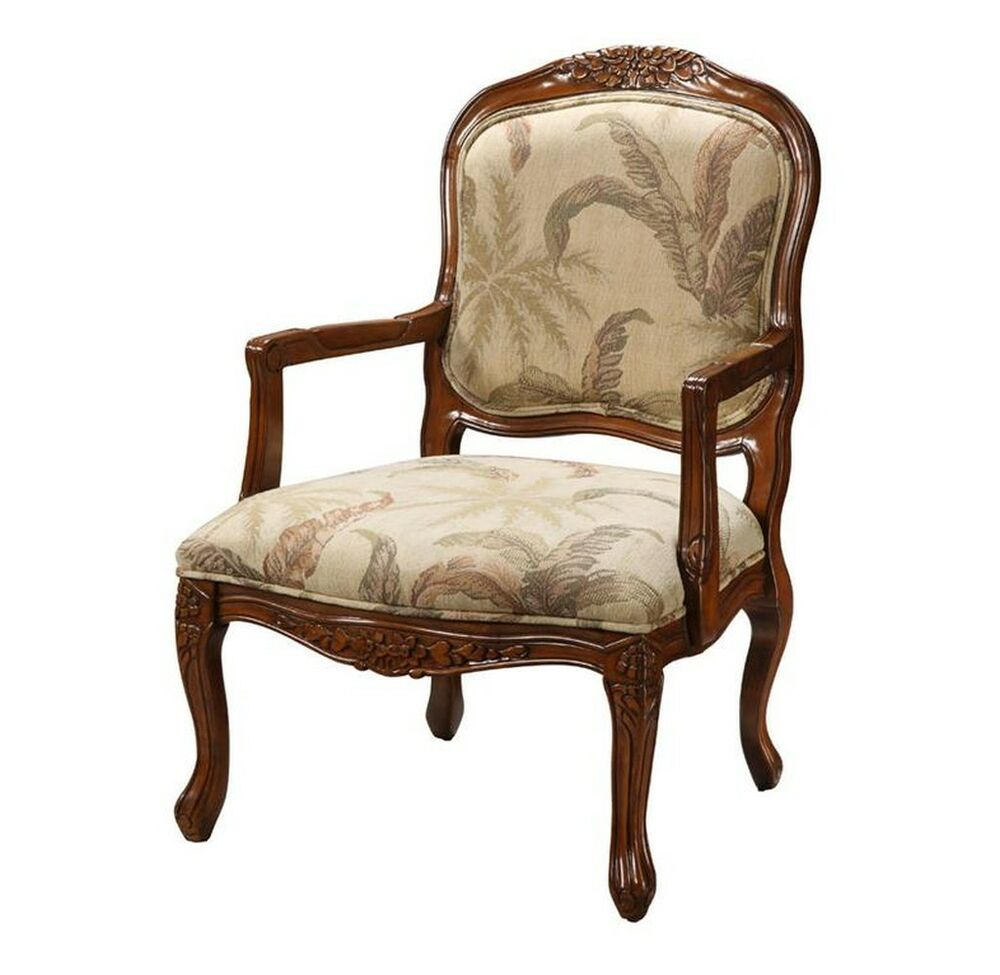 Coast to coast accents 94038 tropical cream living room accent chair w arms ebay for Occasional chairs for living room