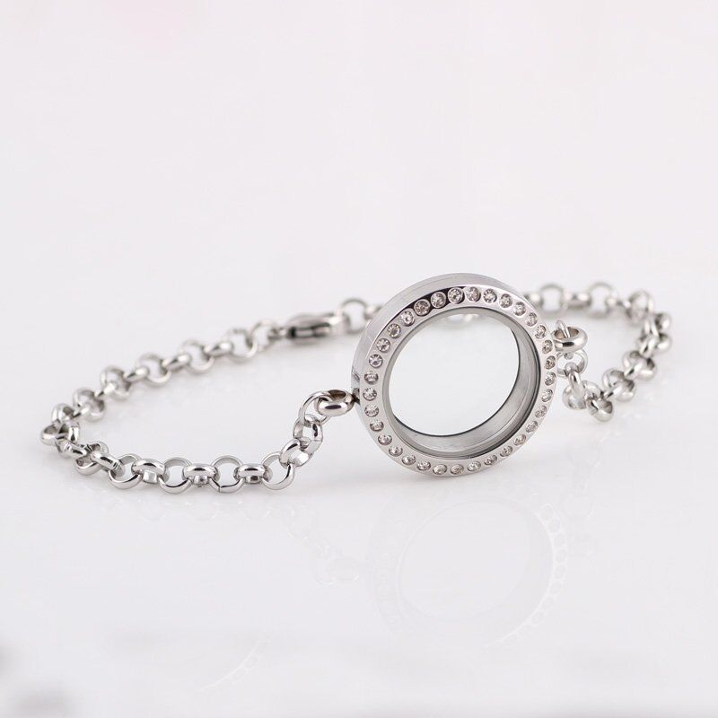 Memory Charm Bracelets: Living Memory Floating Charms Glass Silver Round Locket
