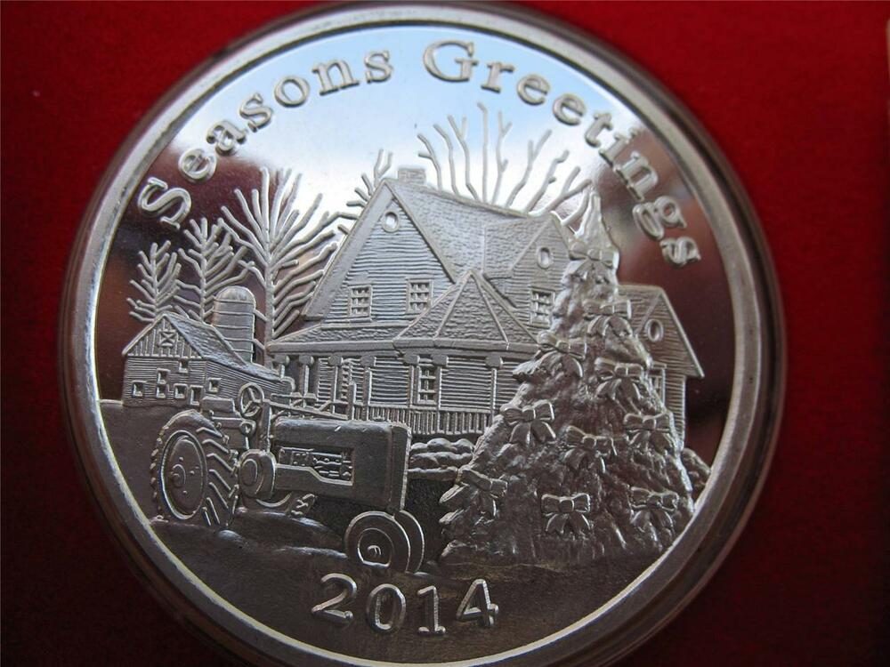 1 Oz Christmas Farm 2014 John Deere Tractor Engravable