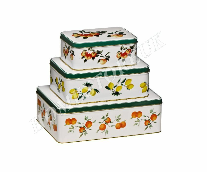 Set of 3 storage tins orchard fruit kitchen vegetable cook for Kitchen set cake