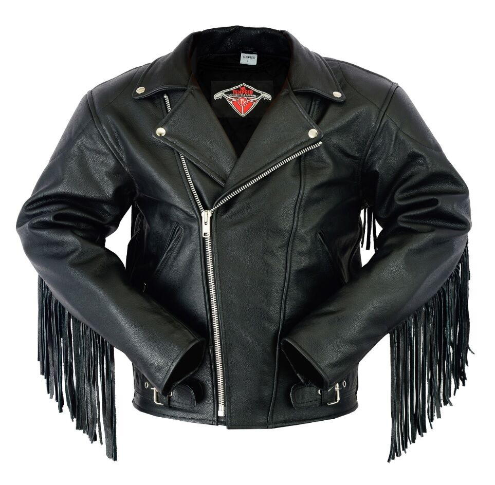 Tasseled leather jacket