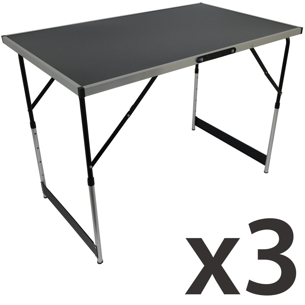 Set of 3 folding trestle tables portable aluminium height for 100 table height