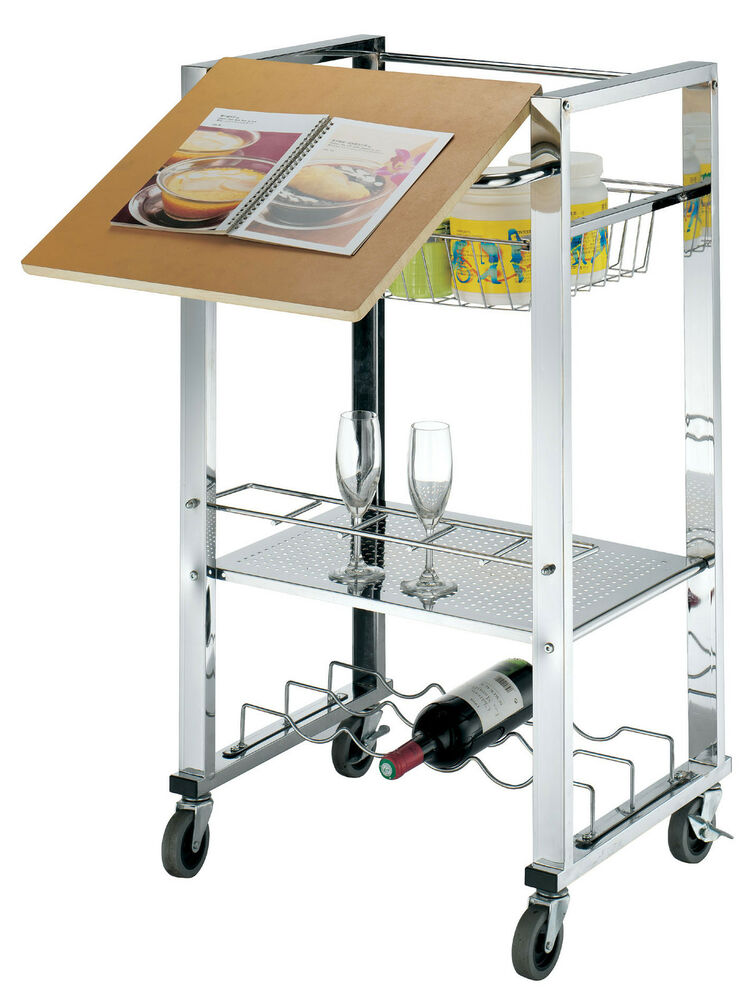 Trolley Service Kitchen Cart 4 Tier Wheels Storage Serving Steel Chrome Board Ebay