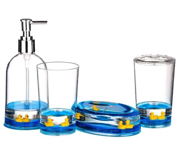 Premier floating ducks 4 piece bathroom accessories set for Bathroom accessories acrylic