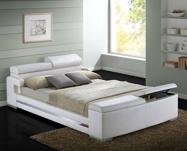 New herman modern white bycast leather queen or king platform bed w storage ebay - Benefits of contemporary queen bed ...