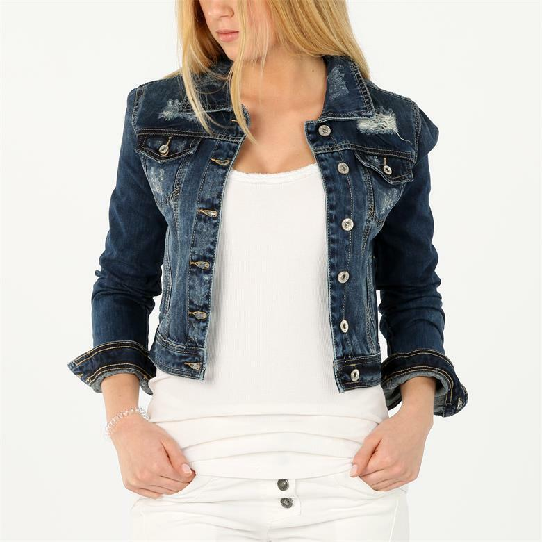 melly co damen destroyed jeans jacke vintage washed denim jacket blau ebay. Black Bedroom Furniture Sets. Home Design Ideas