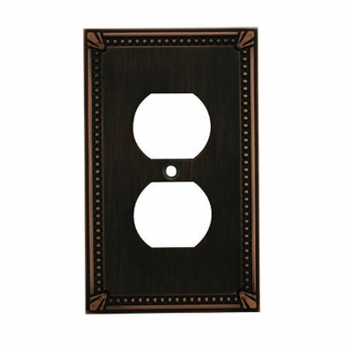 oil rubbed bronze single duplex wall plate plug electric outlet cover 44018 orb ebay. Black Bedroom Furniture Sets. Home Design Ideas