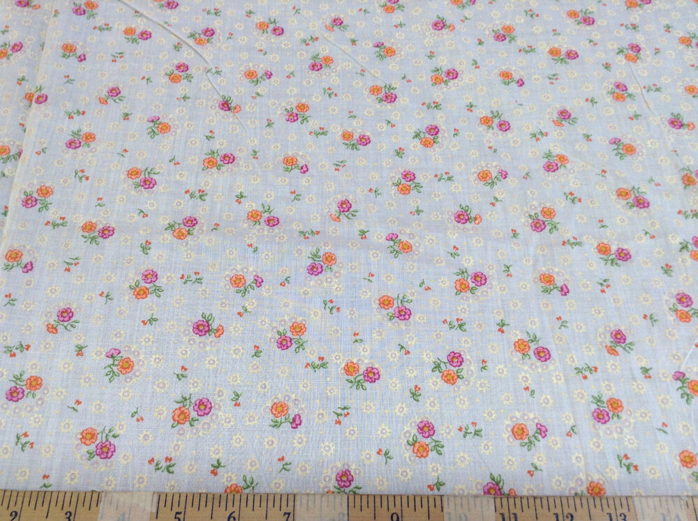 Discount fabric quilting cotton pink and orange floral for Cotton quilting fabric