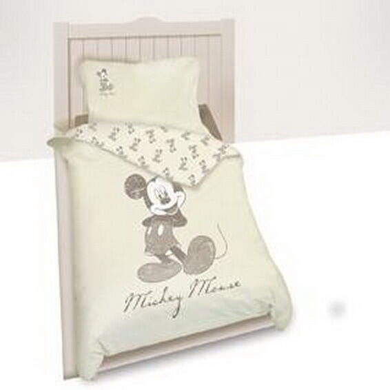 bettw sche set disney mickey mouse 140 x 200 cm beige 100. Black Bedroom Furniture Sets. Home Design Ideas