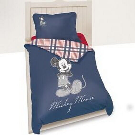 bettw sche set disney mickey mouse 140 x 200 cm blau 100. Black Bedroom Furniture Sets. Home Design Ideas