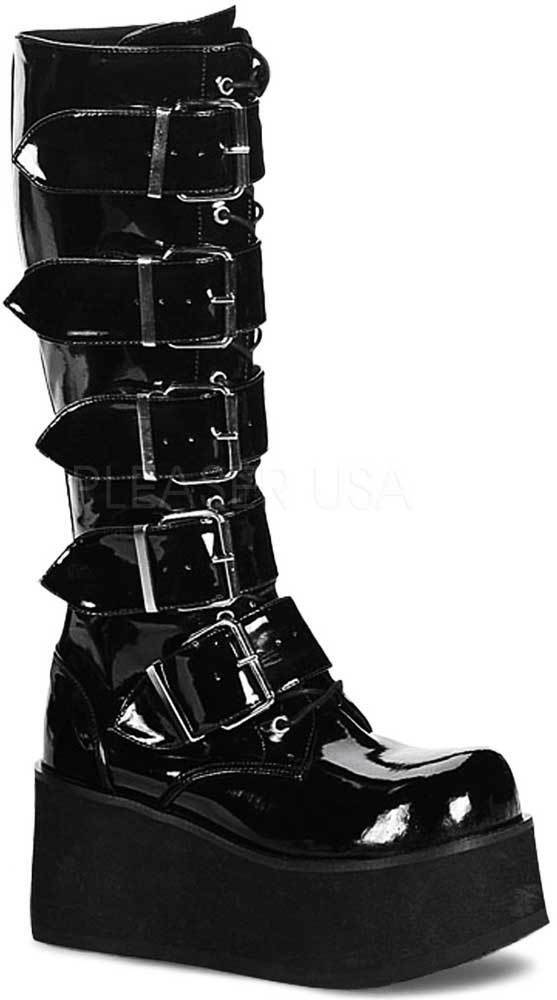 Goth Punk Rock Buckle Strap Knee High Extreme Platform
