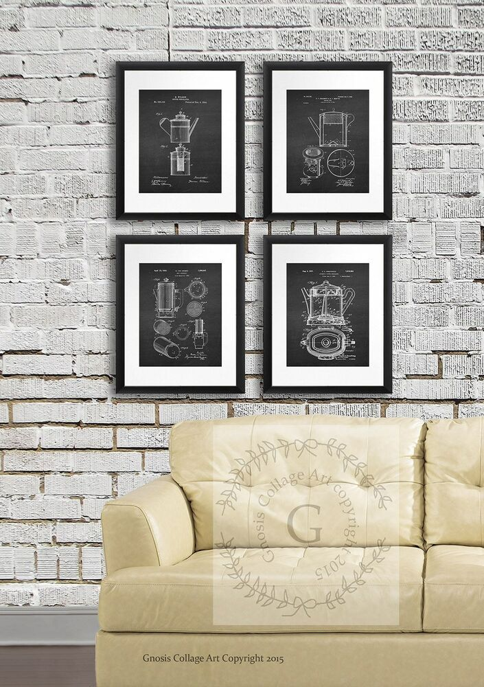 Kitchen wall decor coffee pot percolator patents set of 4 for Art prints for kitchen wall