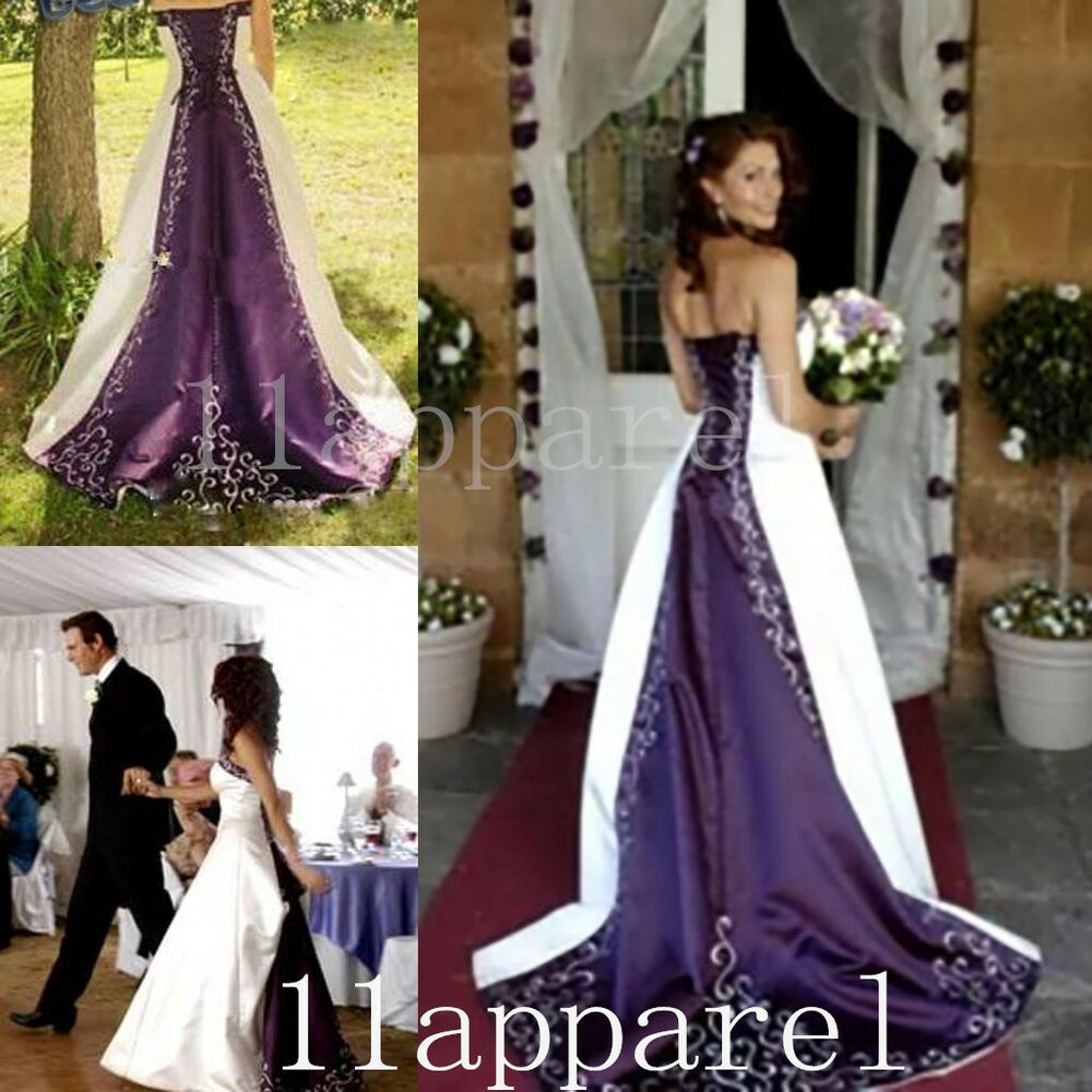 Purple And Ivory Wedding Dresses : Purple ivory embroidery a line wedding dresses bridal gown