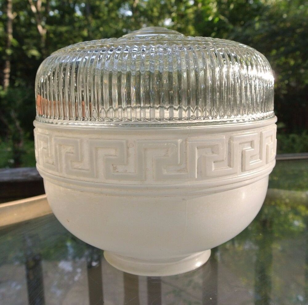 Vintage art deco white clear glass ceiling light shade for Painting light shades