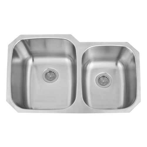 32 Inch Undermount Kitchen Sink : 32 inch Double Bowl 60/40 UnderMount Stainless Steel Kitchen Sink ...