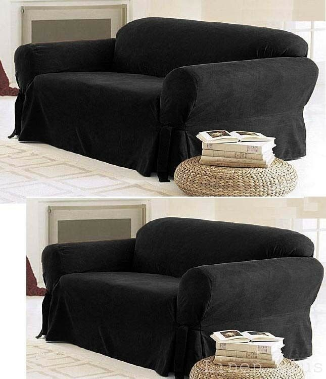 2 Pc Black Micro Suede Couch Sofa Loveseat Slip Cover New