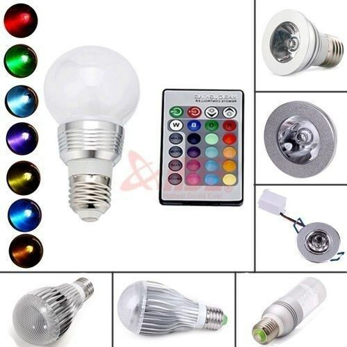 16 color changing magic rgb led light bulb lamp e27 mr16 5w 9w 3w remote cont. Black Bedroom Furniture Sets. Home Design Ideas