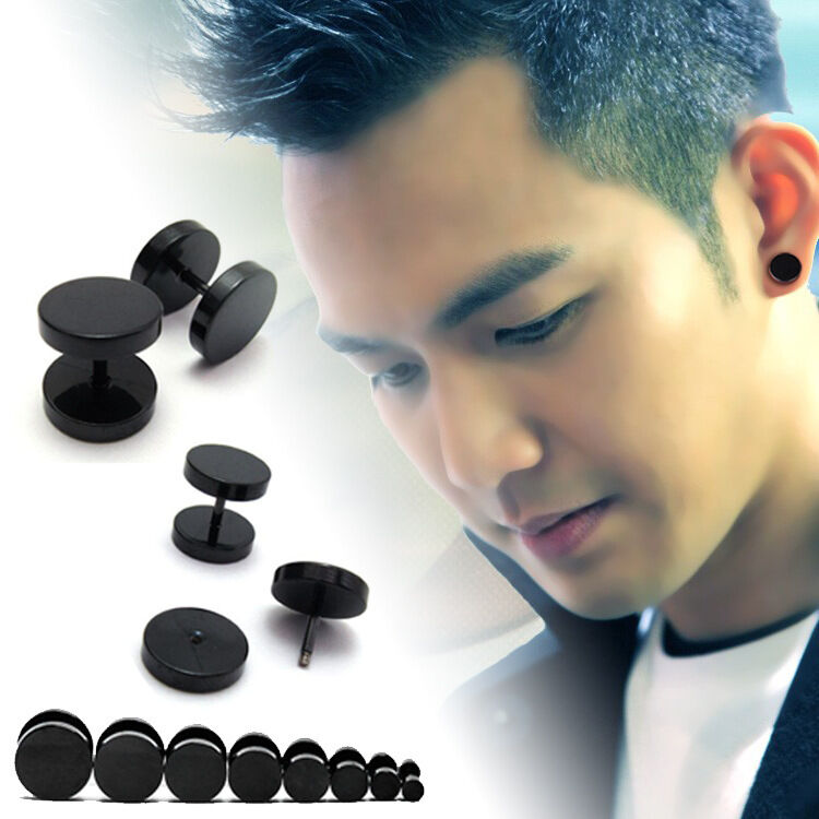 1pc Cool Punk Black Stainless Steel Ear Stud Men/Womens ...
