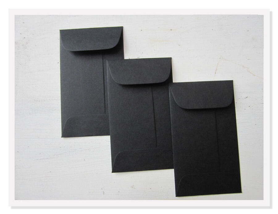 100 black envelopes  bulk mini gift enclosure  coin