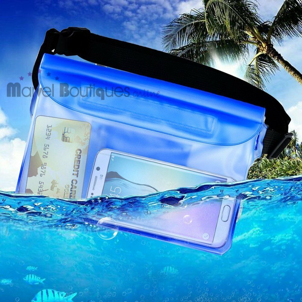 Blue waterproof waist bag case pouch pack for kayaking for Pack swimming