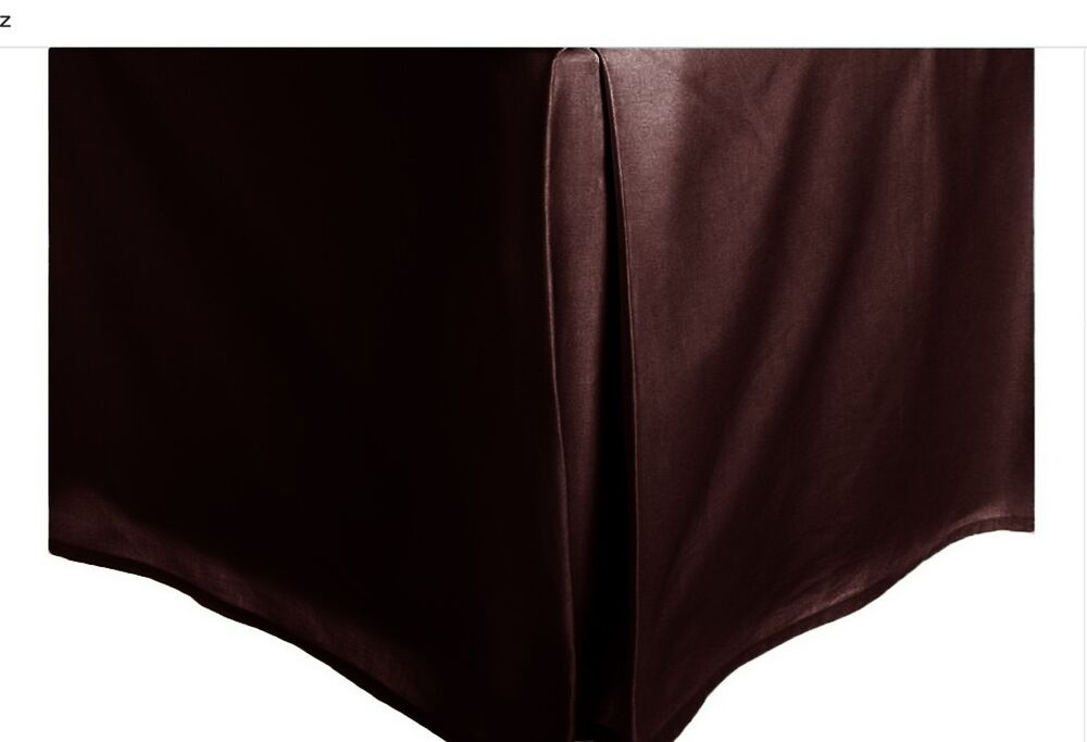 brown solid faux silk bed skirt king size dust ruffle bedding 14 drop ebay. Black Bedroom Furniture Sets. Home Design Ideas