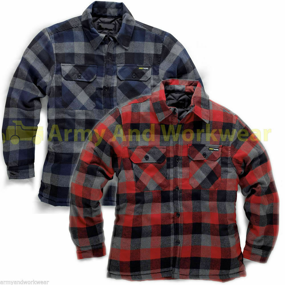 Check flannel padded lumberjack work shirt mens thick for Mens warm flannel shirts