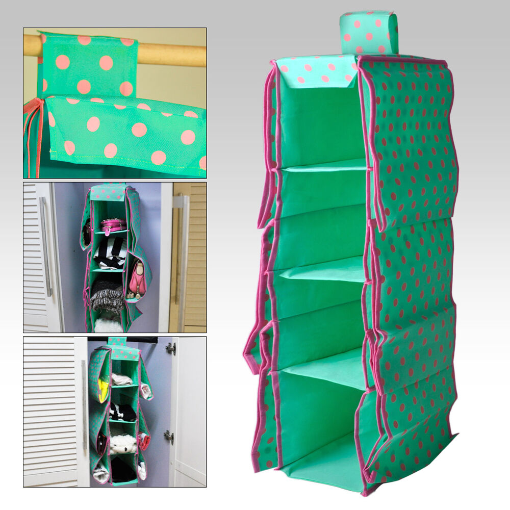 green 10 pockets wardrobe hanging clothes holder rack