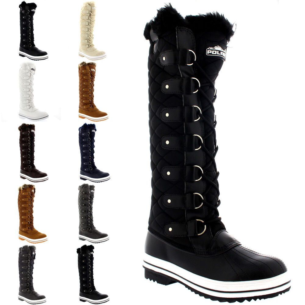 womens quilted knee high duck fur lined lace up muck