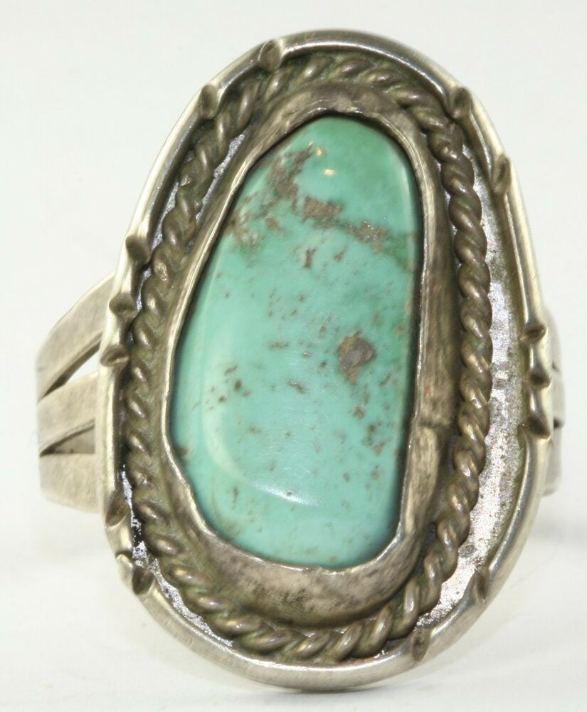 vintage large sterling silver turquoise mens ring