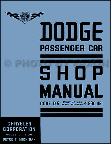 1937 Dodge Car Shop Manual 37 D5 Repair Service Book