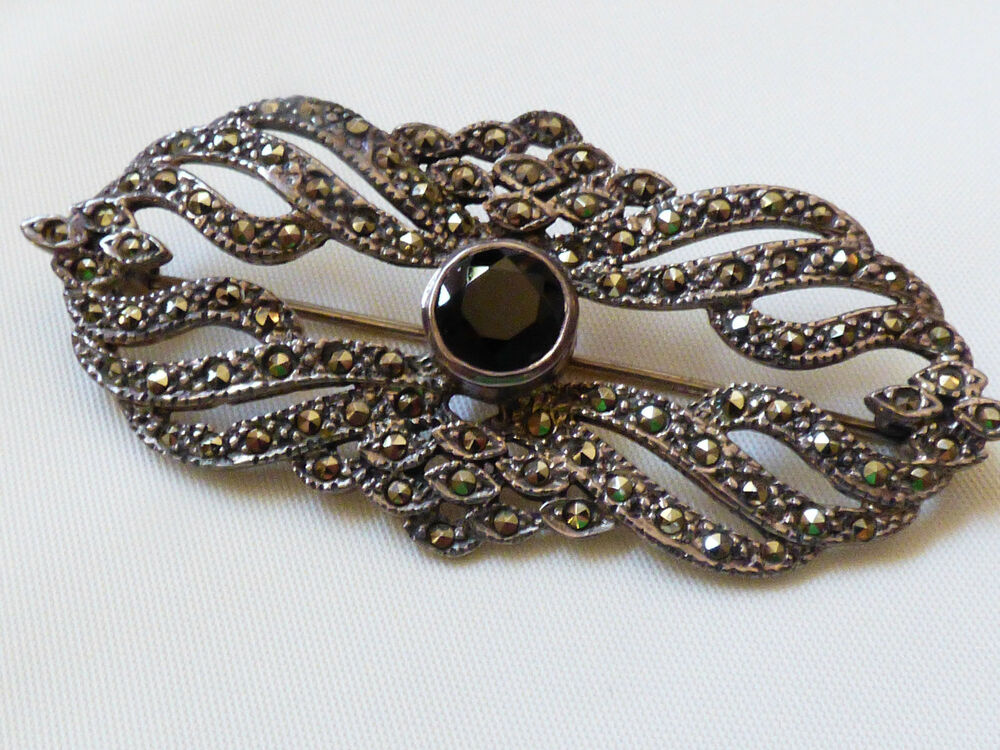 ACPS Art Deco Style Sterling Silver Marcasite Black Onyx ...