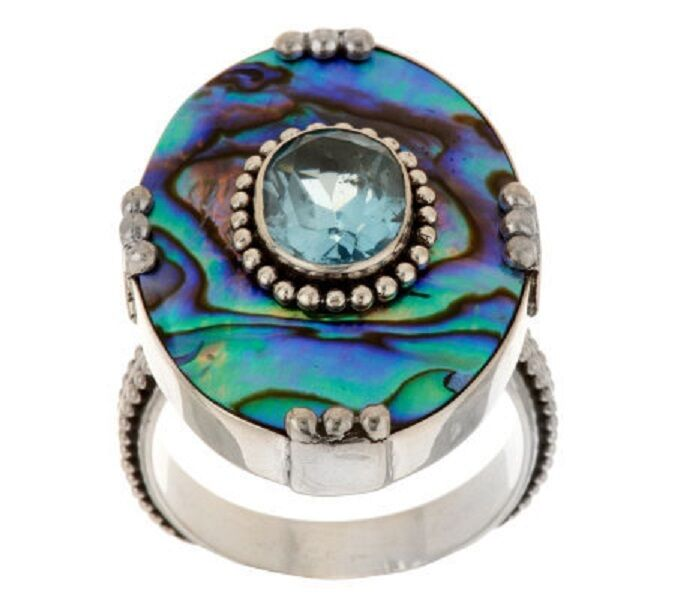 Artisan Crafted 2 00 Ct Blue Topaz And Abalone Sterling