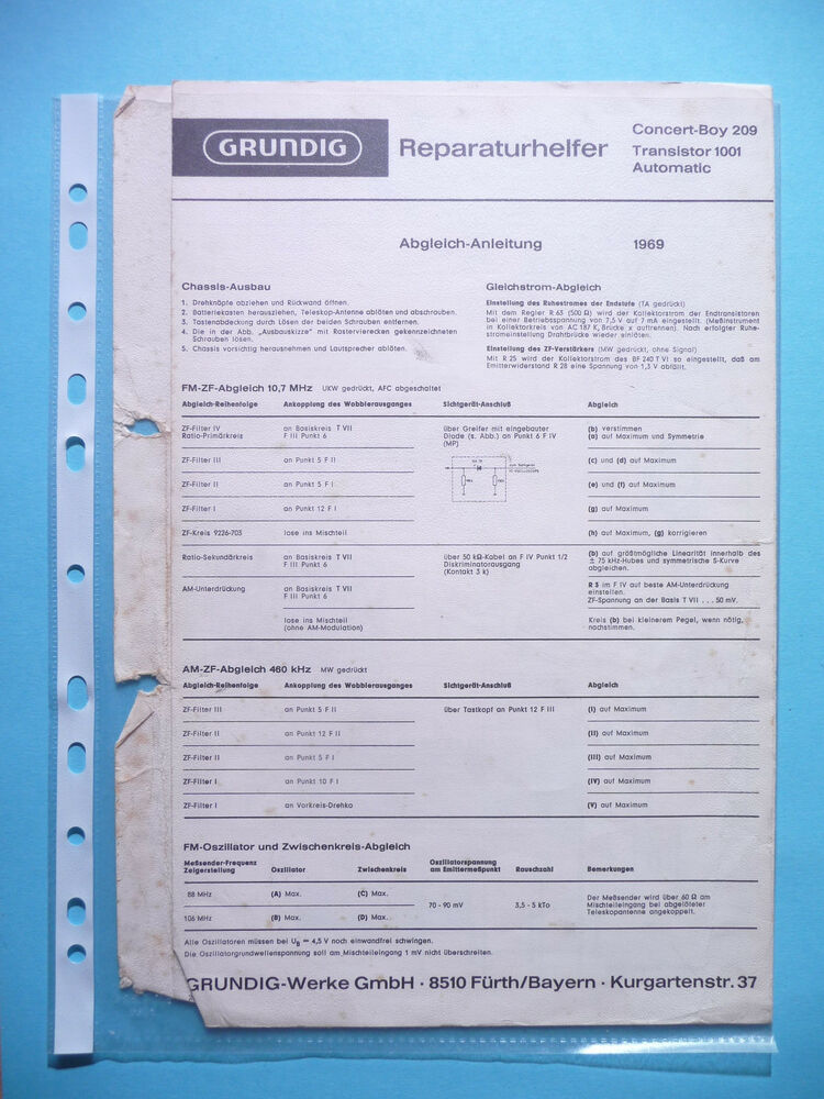 Service Manual For Grundig Concert Boy 209 Transistor 1001