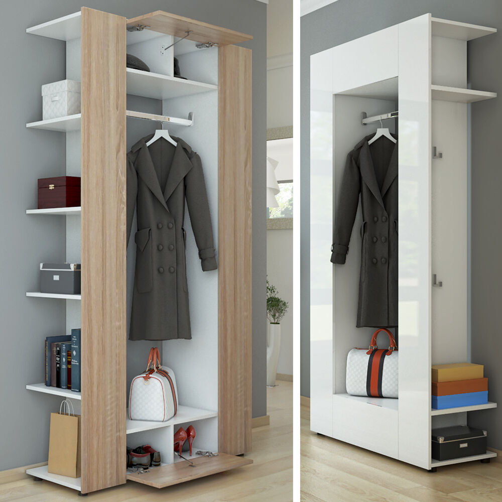 garderobe dielenschrank wandschrank paneel flurgarderobe schrank schuhregal ebay. Black Bedroom Furniture Sets. Home Design Ideas