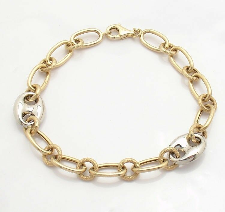multi rolo oval link charm bracelet with mariner anchor