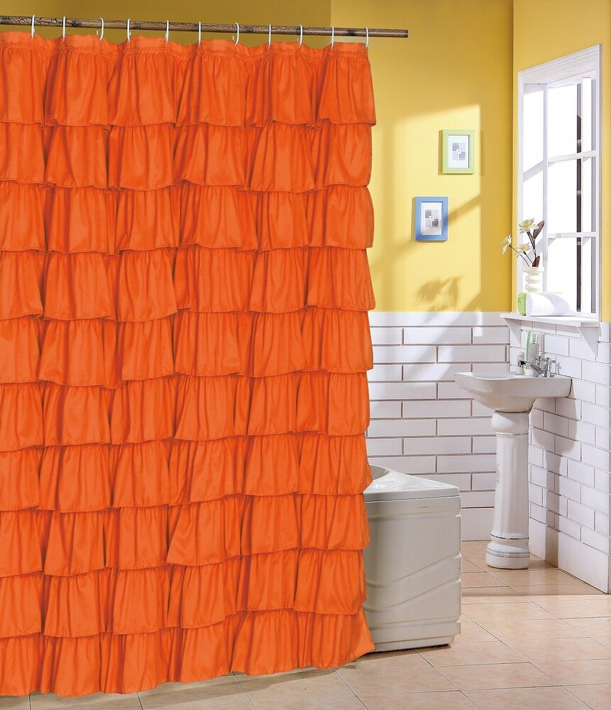 Flamenco Ruffle Shower Curtain Color Orange