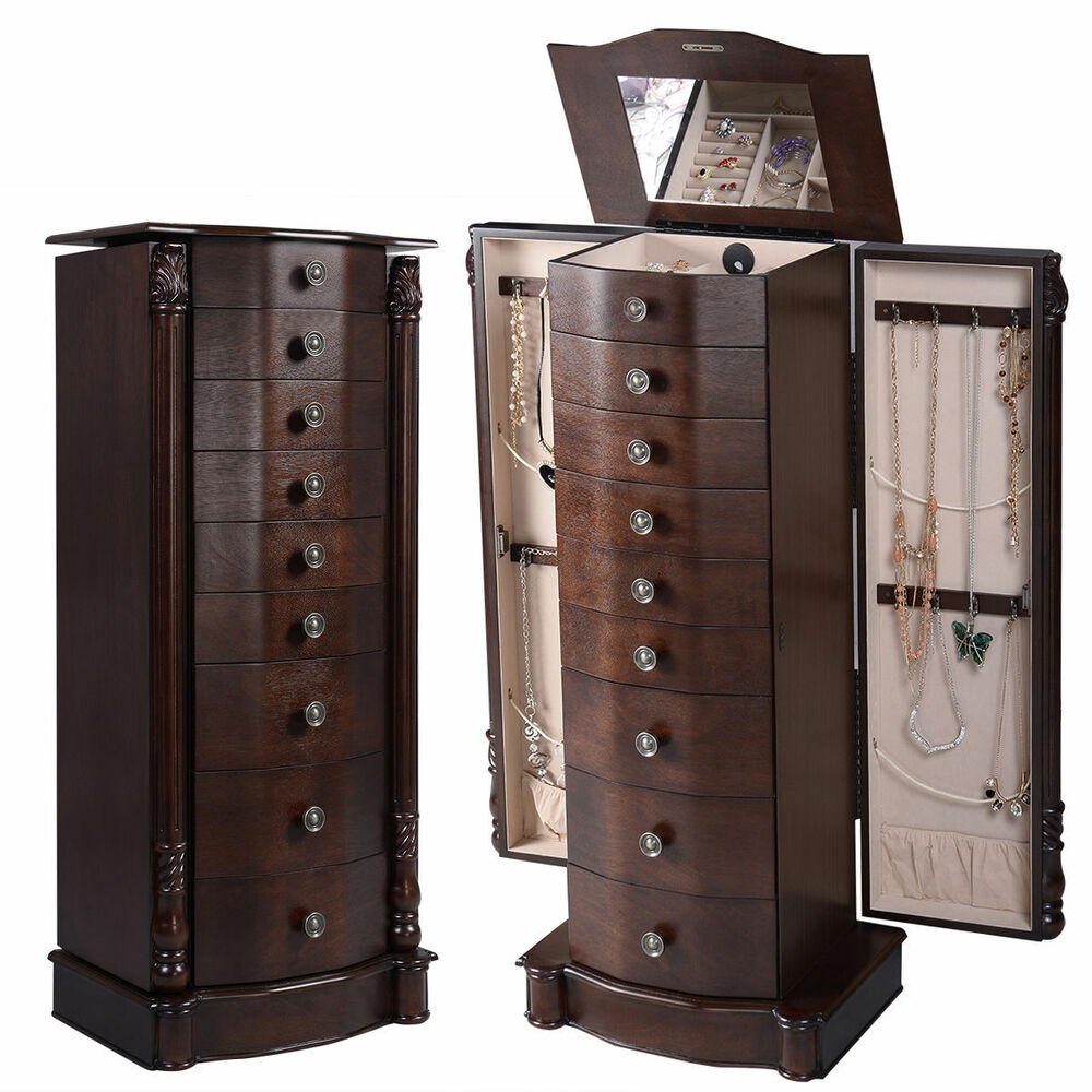jewelry cabinet armoire box chest storage mirror tray necklace organizer ring ebay. Black Bedroom Furniture Sets. Home Design Ideas