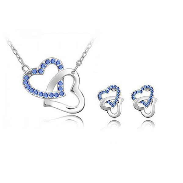 xmas fashion lady jewelry set crystal blue sapphire. Black Bedroom Furniture Sets. Home Design Ideas